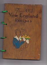 Vintage FINE OLD NEW ENGLAND RECIPES Wood Covered Cookbook--1969