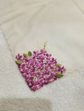 Vintage Handkerchief Purple Embroidery Forget-Me-Nots Flowers Scalloped Edge