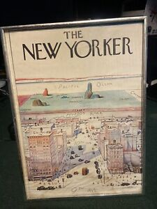 SAUL STEINBERG THE NEW YORKER MODERN LITHOGRAPH POSTER 1976 VINTAGE CITYSCAPE