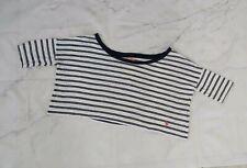 Abercrombie & Fitch Crop White Tee Blue Stripes Burn Out Short Sleeve Sz Medium