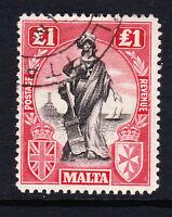 MALTA 1922-26 £1 BLACK & BRIGHT CARMINE-RED WMK SIDEWAYS SG 139 FINE USED.