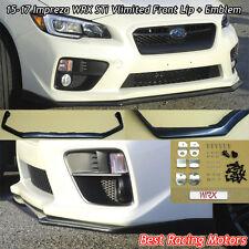 Vlimited Style Front Bumper Lip + Aluminum WRX Emblem Fit 15-17 Subaru WRX