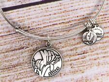 Alex and Ani Because I Love You Sister Charm Bangle Silver Bracelet 2012
