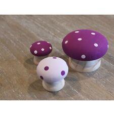Toadstool Mushroom Wooden Ornaments Set of 3 Purple & Lilac