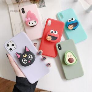 3D Cartoon Ring Holder Cute Japanese Phone Case Kawaii Apple iPhone Samsung