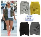 New Women Ruched Wrap Mini Skirt Side Gathered Wrap Skirt Size 8 10 12 14