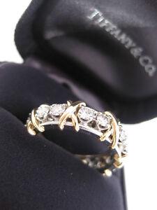 TIFFANY & CO. JEAN SCHLUMBERGER 16 STONE DIAMOND BAND RING 18K GOLD PT950 SIZE 6