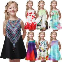 2019 Toddler Girl Summer Princess Dress Kids Baby Print Party Sleeveless Dress