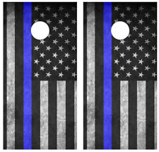 Thin Blue Line Flag Cornhole Board Skin Wrap Decal SET -LAMINATED