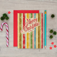 Retro Christmas Cards - Vintage Style Christmas Cards - 6 Pack with Envelopes