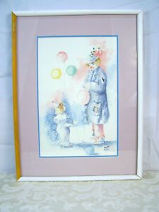 Depressed Clown at Party with Child looking up with Balloons with wood Frame