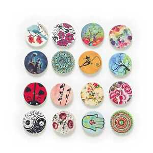 50pcs Retro theme Printing Wood Button for Sewing Clothing Scrapbook Gift Making