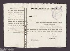 SPANISH COLONIAL DERECHO ELECTORAL DOCUMENT / ARECIBO PUERTO RICO / 1880's RARE