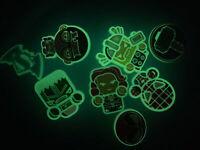 Glow In Dark Super Heros Lot 8 Shoe,Bracelet &Lace Adapter Charms Plz Read