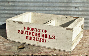 VINTAGE SOUTHERN HILLS ORCHARD WOODEN CRATE BOX FRUIT STAND FARM HOUSE SIGN OLD