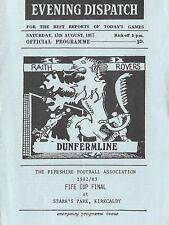 Football Programme>RAITH ROVERS v DUNFERMLINE ATHLETIC Aug 1982 Fife Cup Final