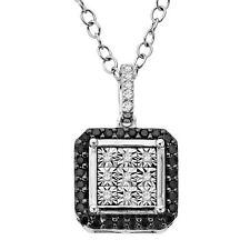1/5 Ct Black & White Diamond Pingente Quadrado Em Prata Esterlina