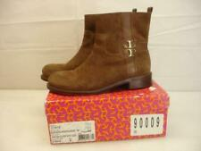 $425 Women's 8 B M Tory Burch Alaina Almond Brown Suede Leather Ankle Boots Zip