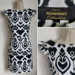 NEXT RUNWAY COLLECTION Black White Wiggle Pencil Dress 12 Cocktail Party Evening