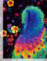 Animal Fabric - Rainbow Peacock & Spring Floral Black - Timeless Treasures YARD