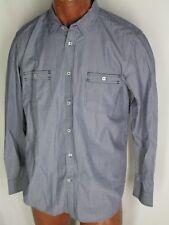Ben Sherman Blue Gray White Striped Shirt XL Logo Buttons