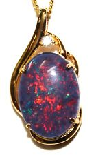 18x13mm Opal Lady Gift Natural Opal Pendant Solid Sterling Silver 18kYGP 29x15mm