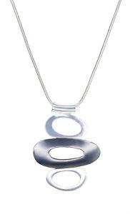Ella Jonte lange edle Geo Halskette silber grau Ringe Kette in Geschenktüte