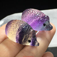 Natural Carved Colorful Fluorite Hedgehog Quartz Polish Crystal Stone Healing