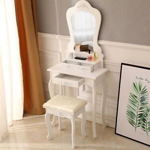 Makeup Vanity Table Set with Mirror, 3 Drawers and Cushioned Stool