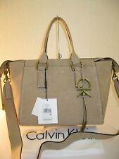 Calvin Klein Brynn Khaki Barley Suede Leather Convertible Satchel Bag $298