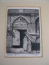 "GEORGE EDWARD NEW, 1894 to 1963 "".STREET IN ALGIERS 1937 ETCHING PENCIL SIGNED"