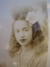 ANTIQUE AFRICAN AMERICAN BEAUTY BEAUTIFUL YOUNG TEEN GIRL FLOWER LIPSTICK PHOTO