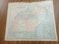 Nice color map of TheSouthern States/East.  Printed 1896 by American Book Co.