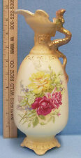 Vintage Porcelain Pitcher Vase Ewer Yellow Rose Royal Wettina Austria R Hanke RH