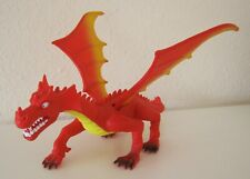 LARGE PLASTIC WINGED RED DRAGON TOY ACTION FIGURE FANTASY MEDIEVAL MONSTER