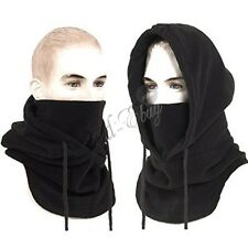 Mens 3 In 1 Black Polar Fleece Hood Snood Balaclava Neck Ski Hat Scarf Mask