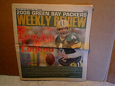 2008 BRETT FAVRE RETIREMENT GREEN BAY PACKERS WEEKLY PREVIEW NEWSPAPER,march,nfl