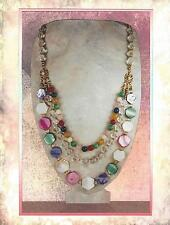 "Multi Color Mother of Pearl & Gemstone ""Confetti"" 3 Tier Statement Necklace 9112"