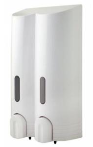 Euroshowers White Double Wall Mounted Soap / Shower Gel / Shampoo Dispenser
