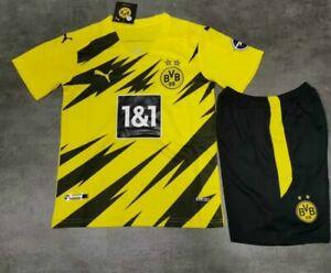 UK Kits Boys Socks Shirt Adult Club Kids 20/21 Jersey Yellow Sportswear