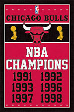 CHICAGO BULLS - NBA CHAMPIONS POSTER - 22x34 SHRINK WRAPPED - BASKETBALL 2089