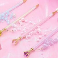 Girls Mechanical Pencil Diamond Pearl Pendant Automatic Pencils Kids School Tool
