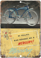 """Mercury bicycle vintage advertising 10"""" x 7""""  reproduction metal sign"""