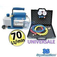 3S POMPA VUOTO MONOSTADIO 70 LT + SET MANOMETRICO UNIVERSALE 2 VIE R410A R22 ...