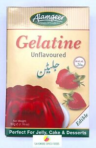 HALAL GELATINE - UNFLAVOURED - ALAMGEER - FOR JELLY, CAKES & DESSERTS ETC - 50g