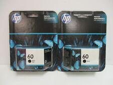 2 HP 60 BLACK INK CARTRIDGE CC640WN - SEALED - EXP: 10/15+  NT 0002