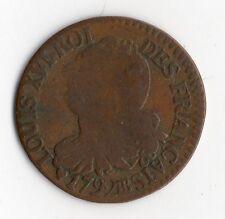 RARE MONNAIE ROYALE : BELLE MONNAIE DE 3 DENIERS EN CUIVRE DE 1792 BB STRASBOURG