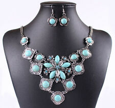 Retro Silver Ethnic Tibet Turquoise Flower Crystal Necklace Dangle Earrings P49