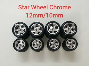 4 SETS CUSTOM HOT WHEELS STAR RUBBER WHEELS TIRES 1/64 12mm/10mm CHROME