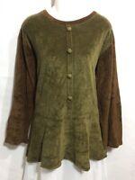 Angelheart Designs by FLAX Green Brown Cotton Velour Lagenlook Tunic Top Shirt P